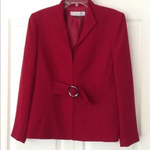 Tahari Studio Red Jacket/Blazer SZ 4 EUC